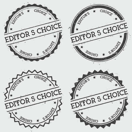 Editor's Choice insignia stamp isolated on white background. Grunge round hipster seal with text, ink texture and splatter and blots, vector illustration.