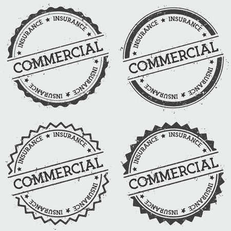 Commercial insurance insignia stamp isolated on white background. Grunge round hipster seal with text, ink texture and splatter and blots, vector illustration.