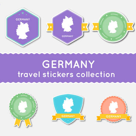 Germany travel stickers collection. Big set of stickers with country map and name. Flat material style badges vector illustration.