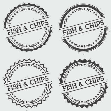 Fish & chips insignia stamp isolated on white background. Grunge round hipster seal with text, ink texture and splatter and blots, vector illustration.