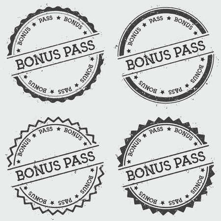 Bonus pass insignia stamp isolated on white background. Grunge round hipster seal with text, ink texture and splatter and blots, vector illustration.