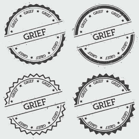 Grief insignia stamp isolated on white background. Grunge round hipster seal with text, ink texture and splatter and blots, vector illustration.
