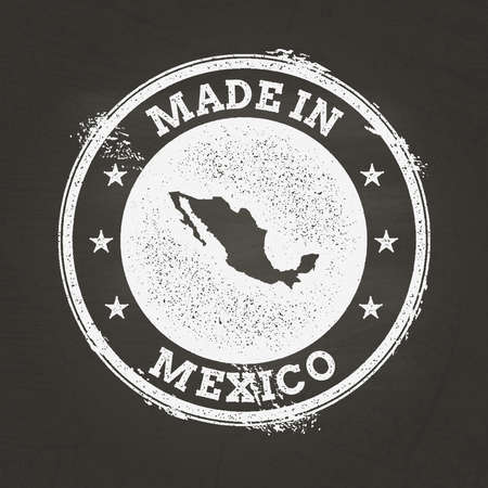 White chalk texture made in stamp with United Mexican States map on a school blackboard. Grunge rubber seal with country map outline, vector illustration.