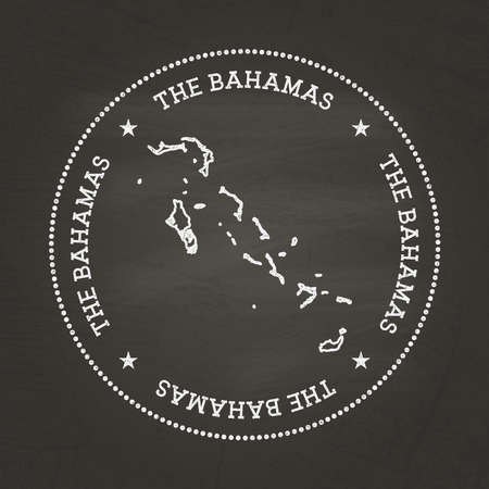 White chalk texture vintage seal with Commonwealth of the Bahamas map on a school blackboard. Grunge rubber seal with country map outline, vector illustration.