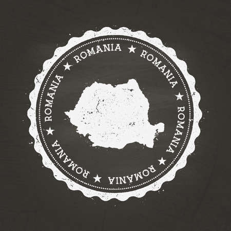 White chalk texture rubber stamp with Romania map on a school blackboard. Grunge rubber seal with country map outline, vector illustration.