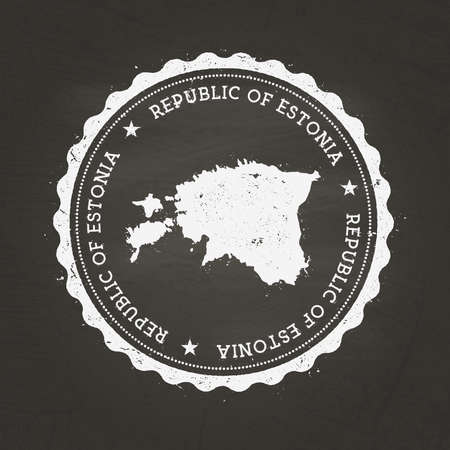 White chalk texture rubber stamp with Republic of Estonia map on a school blackboard. Grunge rubber seal with country map outline, vector illustration.