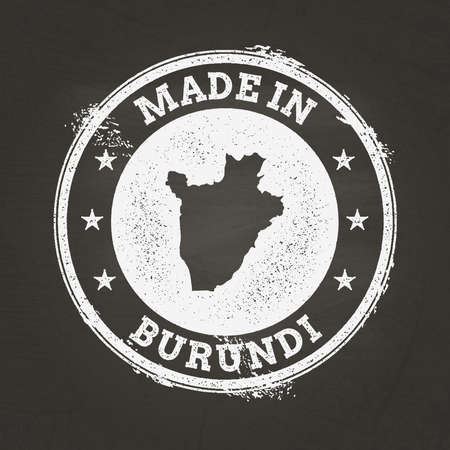 White chalk texture made in stamp with Republic of Burundi map on a school blackboard. Grunge rubber seal with country map outline, vector illustration. Illustration