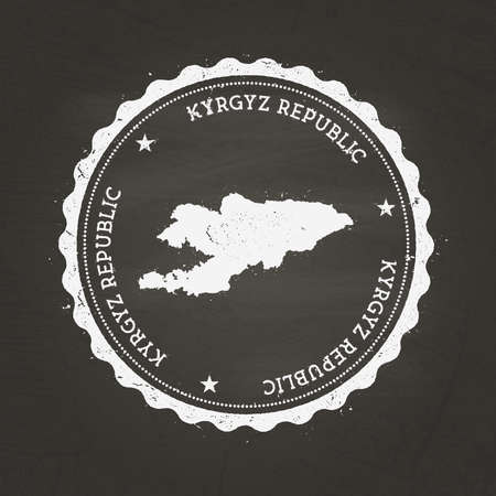 White chalk texture rubber stamp with Kyrgyz Republic map on a school blackboard. Grunge rubber seal with country map outline, vector illustration.