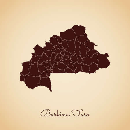 Burkina Faso region map: retro style brown outline on old paper background. Detailed map of Burkina Faso regions. Vector illustration. Vettoriali