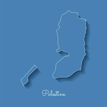 Palestine region map: blue with white outline and shadow on blue background. Detailed map of Palestine regions. Vector illustration.