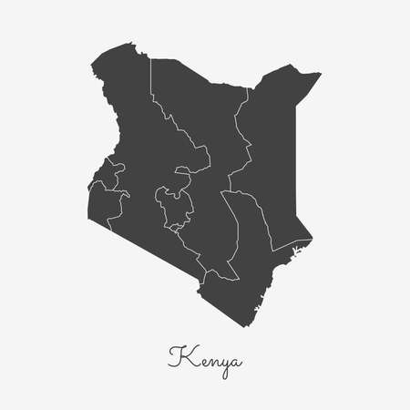 Kenya region map: grey outline on white background. Detailed map of Kenya regions. Vector illustration.