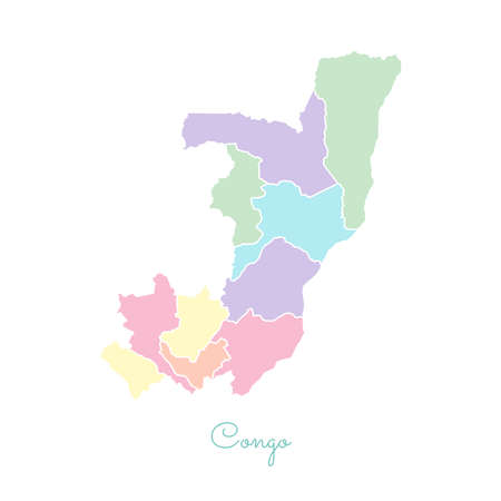 Congo region map: colorful with white outline. Detailed map of Congo regions. Vector illustration.