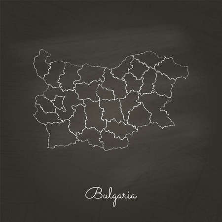 Bulgaria region map: hand drawn with white chalk on school blackboard texture. Detailed map of Bulgaria regions. Vector illustration.