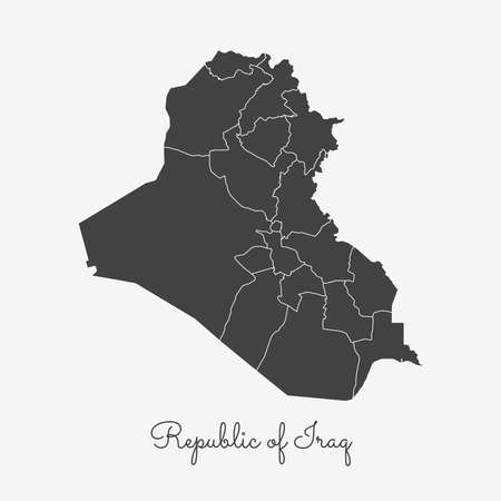 Republic of Iraq region map: grey outline on white background. Detailed map of Republic of Iraq regions. Vector illustration.