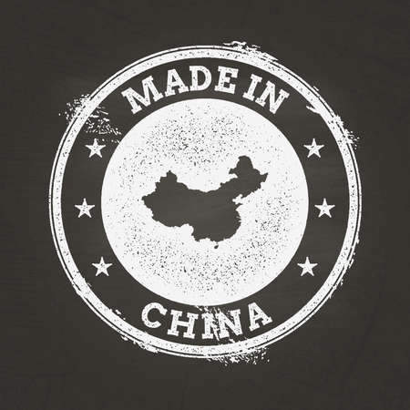 White chalk texture made in stamp with Peoples Republic of China map on a school blackboard. Grunge rubber seal with country map outline, vector illustration.