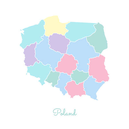 Poland region map: colorful with white outline. Detailed map of Poland regions. Vector illustration.