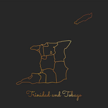 Trinidad and Tobago region map: golden gradient outline on dark background. Detailed map of Trinidad and Tobago regions. Vector illustration.