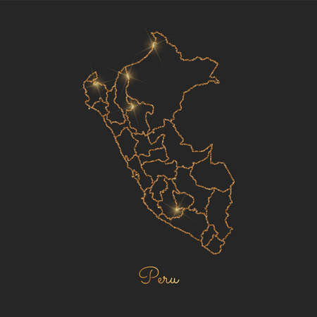 Peru region map: golden glitter outline with sparkling stars on dark background. Detailed map of Peru regions. Vector illustration.