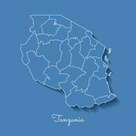 Tanzania region map: blue with white outline and shadow on blue background. Detailed map of Tanzania regions. Vector illustration.