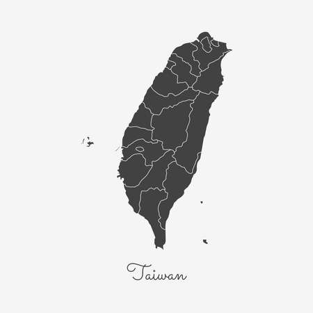 Taiwan region map: grey outline on white background. Detailed map of Taiwan regions. Vector illustration. Vectores