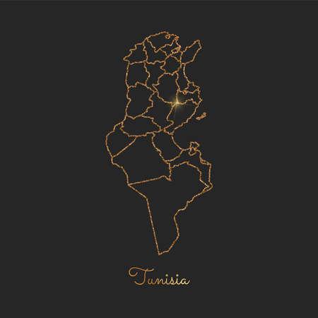Tunisia region map: golden glitter outline with sparkling stars on dark background. Detailed map of Tunisia regions. Vector illustration. Ilustração Vetorial