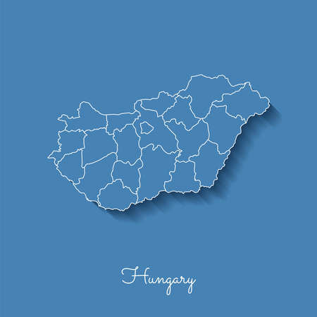 Hungary region map: blue with white outline and shadow on blue background. Detailed map of Hungary regions. Vector illustration.