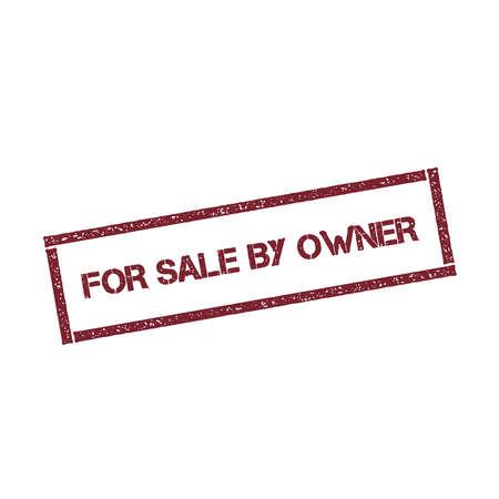 A la venta por el propietario sello rectangular. Sello rojo con textura con texto aislado sobre fondo blanco, ilustración vectorial. Ilustración de vector