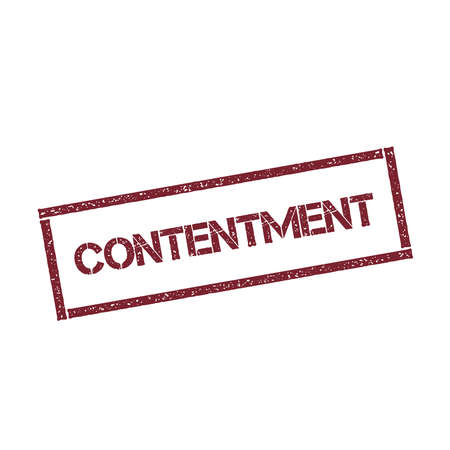 CONTENTMENT rectangular stamp. Textured red seal with text isolated on white background, vector illustration. Illustration