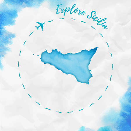 Sicilia watercolor island map in turquoise colors. Explore Sicilia poster with airplane trace and handpainted watercolor Sicilia map on crumpled paper. Vector illustration.