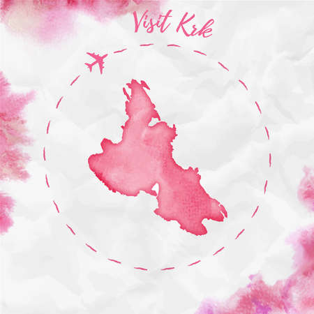 Karte der Insel Krk in roten Farben. Besuchen Sie das Krk-Poster mit Flugzeugspur und handgemalter Krk-Karte auf zerknittertem Papier. Vektor-Illustration.