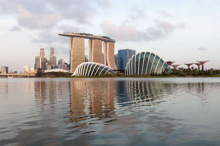 SINGAPORE - Mar 26, 2015: Singapore skyline reflection in the bay. Version 2.