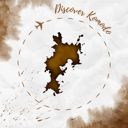 Komodo island map in sepia colors. Discover Komodo poster with airplane trace and handpainted Komodo map on crumpled paper. Vector illustration.