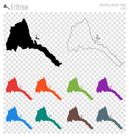 Eritrea high detailed map. Country silhouette icon. Isolated Eritrea black map outline. Vector illustration.