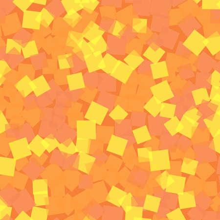 Abstract squares pattern. Orange geometric background. Radiant random squares. Geometric chaotic decor. Vector illustration. Vettoriali