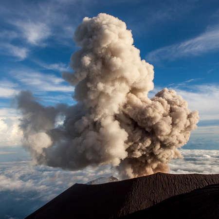 Semeru Volcano Eruption. Mt. Semeru erupts cloud of ash. Java island. Indonesia. Banco de Imagens