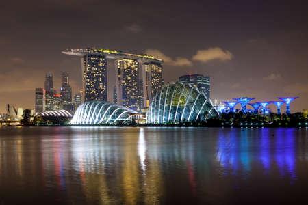 SINGAPORE - Mar 26, 2015: Singapore city Skyline illuminated at night. Version 2. Editorial