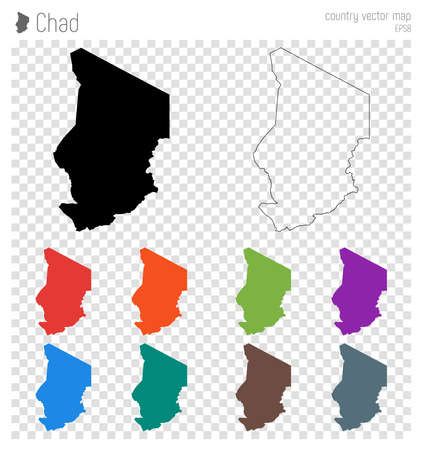 Chad high detailed map. Country silhouette icon. Isolated Chad black map outline. Vector illustration.