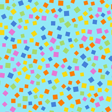 Abstract squares pattern. Blue geometric background. Magnificent random squares. Geometric chaotic decor. Vector illustration.