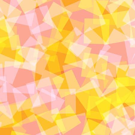 Abstract squares pattern. Orange geometric background. Graceful random squares. Geometric chaotic decor. Vector illustration. Vettoriali