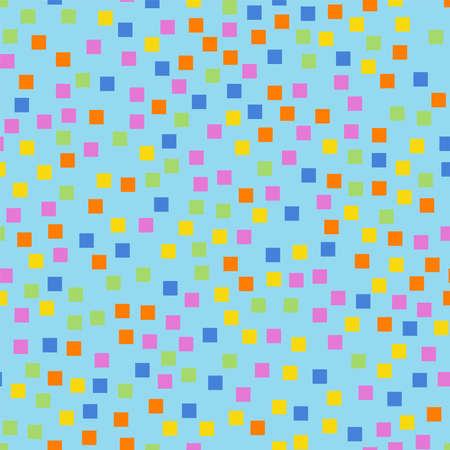 Abstract squares pattern. Light blue geometric background. Radiant random squares. Geometric chaotic decor. Vector illustration.