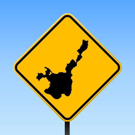Ishigaki map on road sign. Square poster with Ishigaki island map on yellow rhomb road sign. Vector illustration.  イラスト・ベクター素材