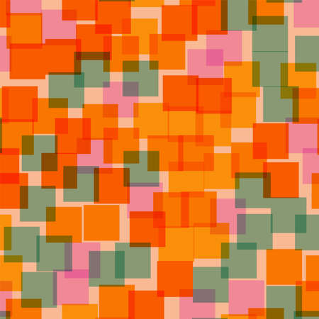 Abstract squares pattern. Pink geometric background. Fascinating random squares. Geometric chaotic decor. Vector illustration.