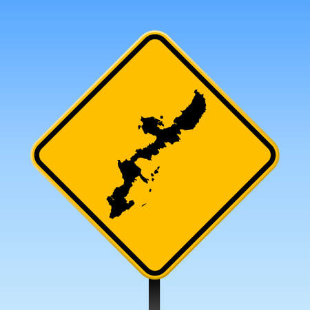 Okinawa Island map on road sign. Square poster with Okinawa Island island map on yellow rhomb road sign. Vector illustration.