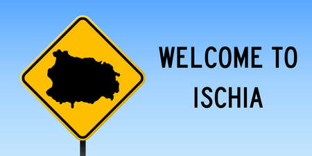 Ischia map on road sign. Wide poster with Ischia island map on yellow rhomb road sign. Vector illustration.