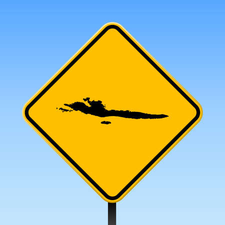 Hvar & Dalmatian Islands map on road sign. Square poster with Hvar & Dalmatian Islands island map on yellow rhomb road sign. Vector illustration.