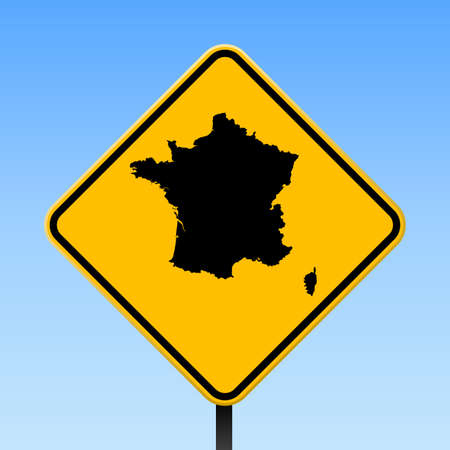 France map on road sign. Square poster with France country map on yellow rhomb road sign. Vector illustration.