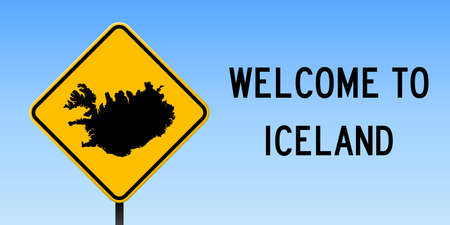 Iceland map on road sign. Wide poster with Iceland country map on yellow rhomb road sign. Vector illustration.
