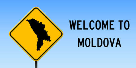 Moldova map on road sign. Wide poster with Moldova country map on yellow rhomb road sign. Vector illustration.
