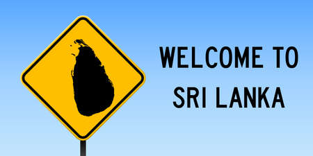 Sri Lanka map on road sign. Wide poster with Sri Lanka country map on yellow rhomb road sign. Vector illustration.