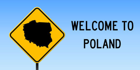 Poland map on road sign. Wide poster with Poland country map on yellow rhomb road sign. Vector illustration. Ilustrace